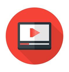 Media play flat circle icon vector