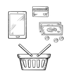 Shopping icons with tablet money and credit card vector image vector image