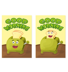 toaster with bread slices good morning poster vector image