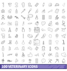 100 veterinary icons set outline style vector image