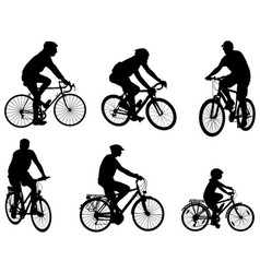 bicyclists silhouettes vector image