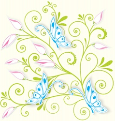 Butterfly on swirl texture vector image