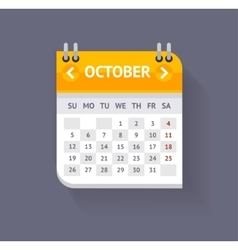 Calendar October Flat Design vector image