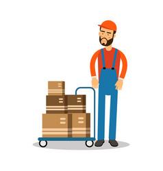 delivery postman delivering parcels on a trolley vector image vector image