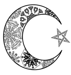 new moon and star zentangle style vector image