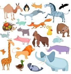 wild animals set vector image vector image