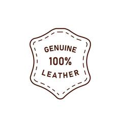 100 percent genuine leather logo icon vector image