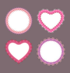 4 cute lace border heart and round labels vector