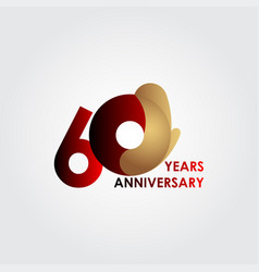 60 years anniversary celebration red gold vector
