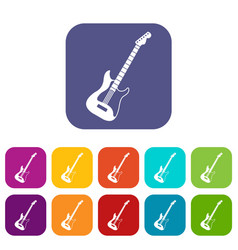Acoustic guitar icons set flat vector