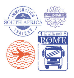 airplane and bus travel stamps south africa vector image