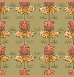 Art nouveau seamless flower pattern vector