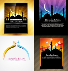 attractive set of brochure of ramadan festival vector image