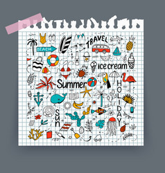 Background with summer set isolated cute vector