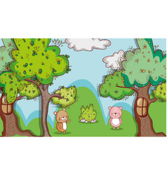 bears in the forest doodle cartoons vector image