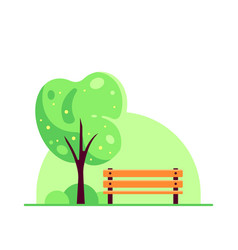 bench in spring or summer city park flat style vector image