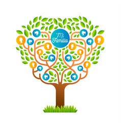 Big family tree template in spanish language vector