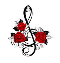 Black musical key with red roses vector