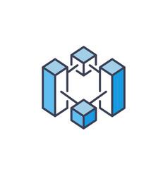 Blockchain crypto blue icon cryptocurrency vector
