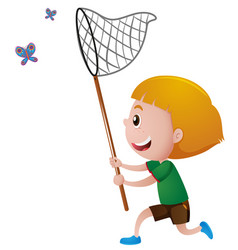 boy catching butterflies with net vector image