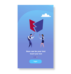 Business couple angry shouting conflict concept vector