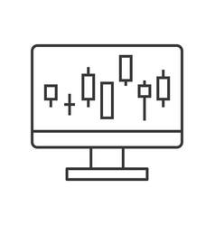 Candlestick chart on computer screen data report vector