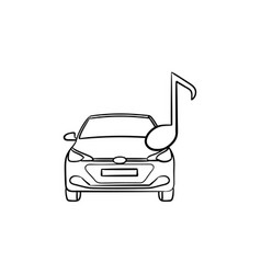 car with a note hand drawn outline doodle icon vector image