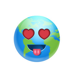 cartoon earth face lovely heart shaped eyes icon vector image