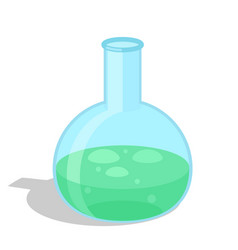 chemical flask with green substance icon vector image