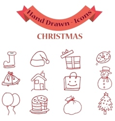 Collection icon of Christmas set vector