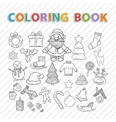 Coloring bookWinter set vector