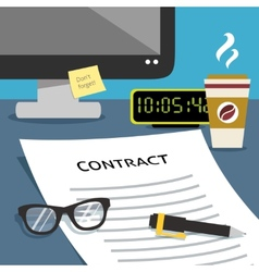 Contract on office desk vector image