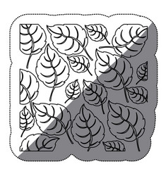 Coontour leaves background icon vector