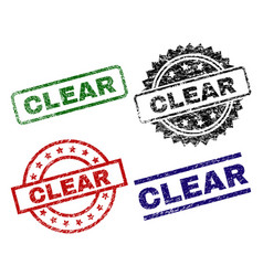 Damaged textured clear stamp seals vector