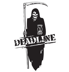 Deadline concept black and white cartoon vector