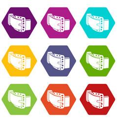 diamond belt icons set 9 vector image