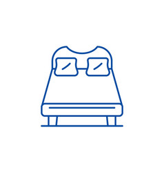 double bed line icon concept double bed flat vector image