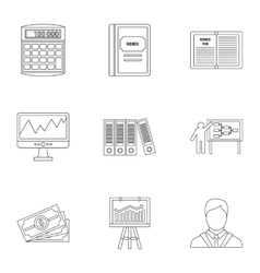Earnings icons set outline style vector