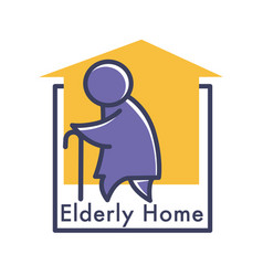 Elderly care or nursing home isolated icon senior vector