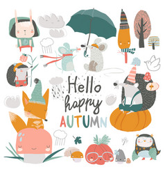 fall set with cute forest animals in cartoon style vector image