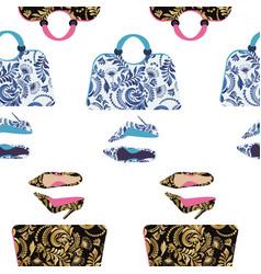 Fashion handbag with high heel shoes textured vector