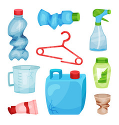 flat set of plastic waste crumpled bottles vector image