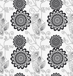 Floral ornament in black and white vector