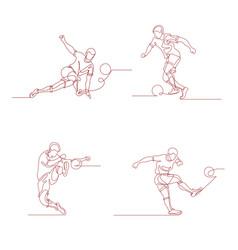 Football player kicks the ball vector