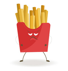 french fries in red cardboard box with angry face vector image