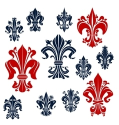 French monarchy fleur-de-lis red and blue lilies vector