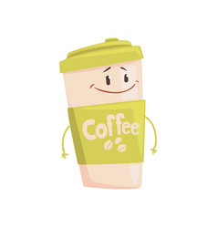 funny coffee cup cartoon character element for vector image