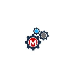 Gear letter m logo icon design vector
