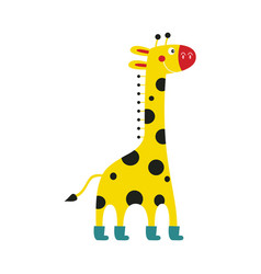 giraffe cartoon character in funny boots stands vector image