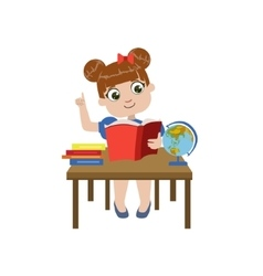 Girl Brhing The Desk Reading vector image